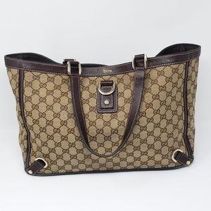 100% Auth Gucci GG Abbey Canvas Tote Bag